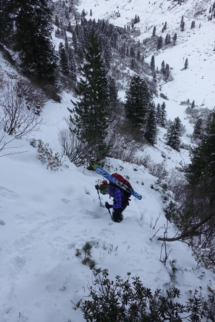 Aufstieg mit Skiern am Rucksack im schneearmen Gelände