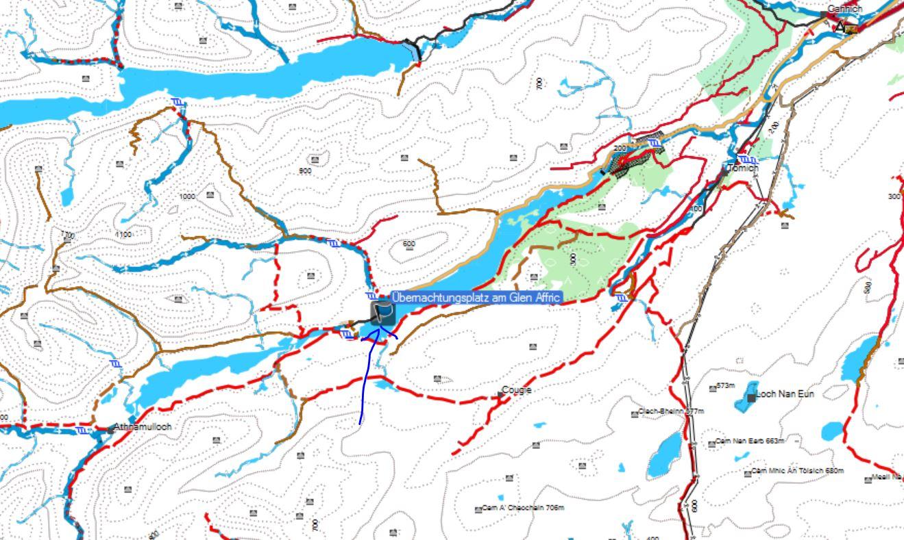 Karte zum Stellplatz im Glen Affric.