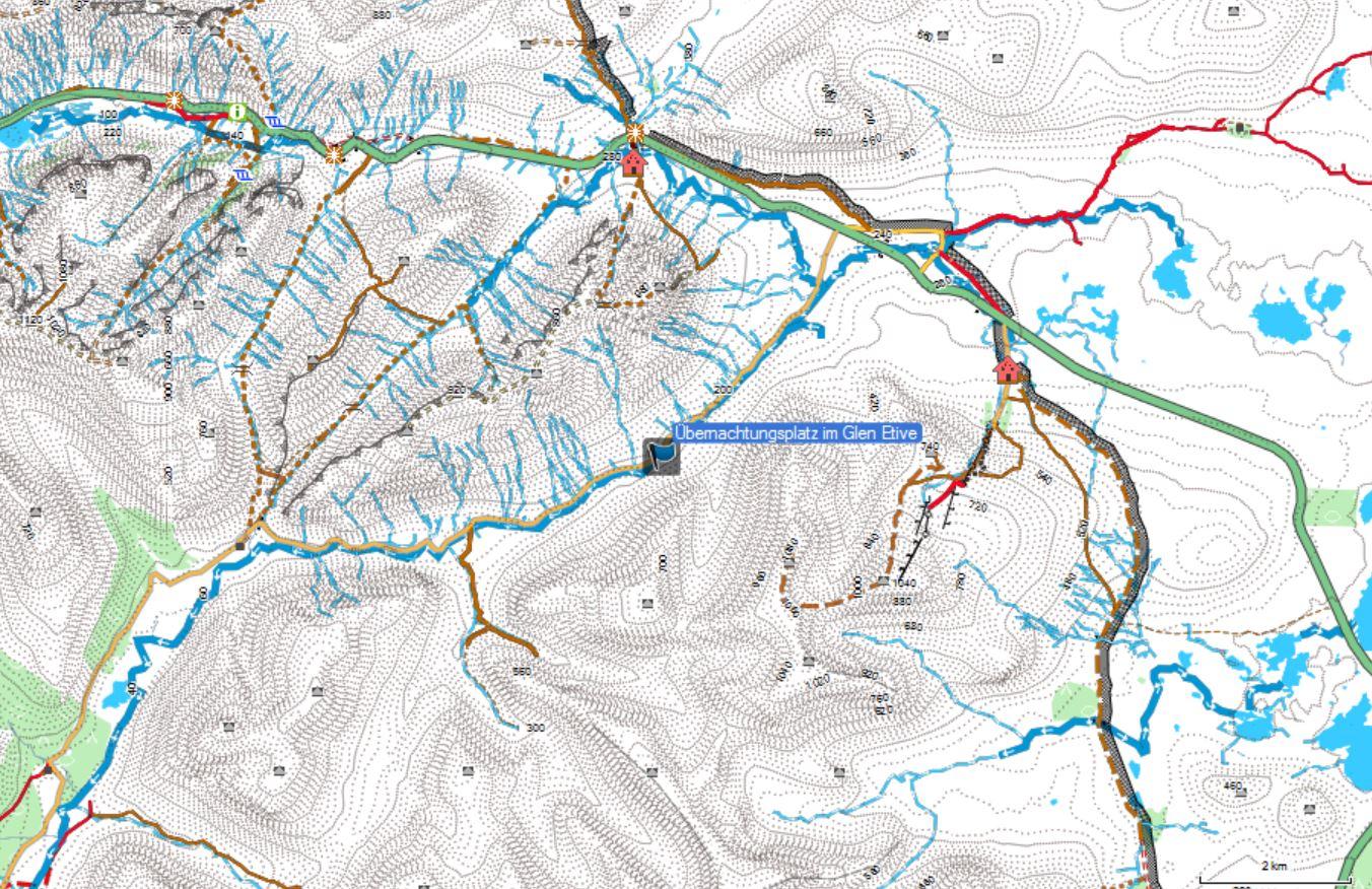 Karte vom Platz Nr. 2 zum Wildcampen in Schottland, dem Glen Etive.
