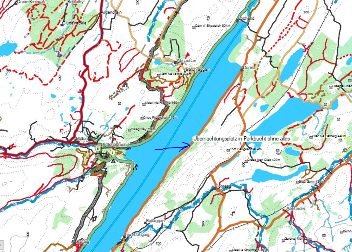 Karte des Wildcamping-Stellplatzes am Ostufer des Loch Ness